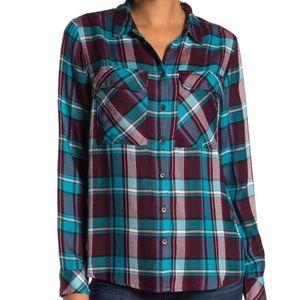 KUT From Kloth Mandy Plaid Shirt NWT Teal XL